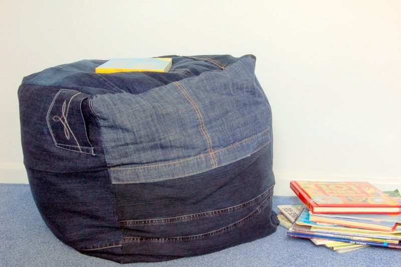 Recycled Denim Foot Pouf