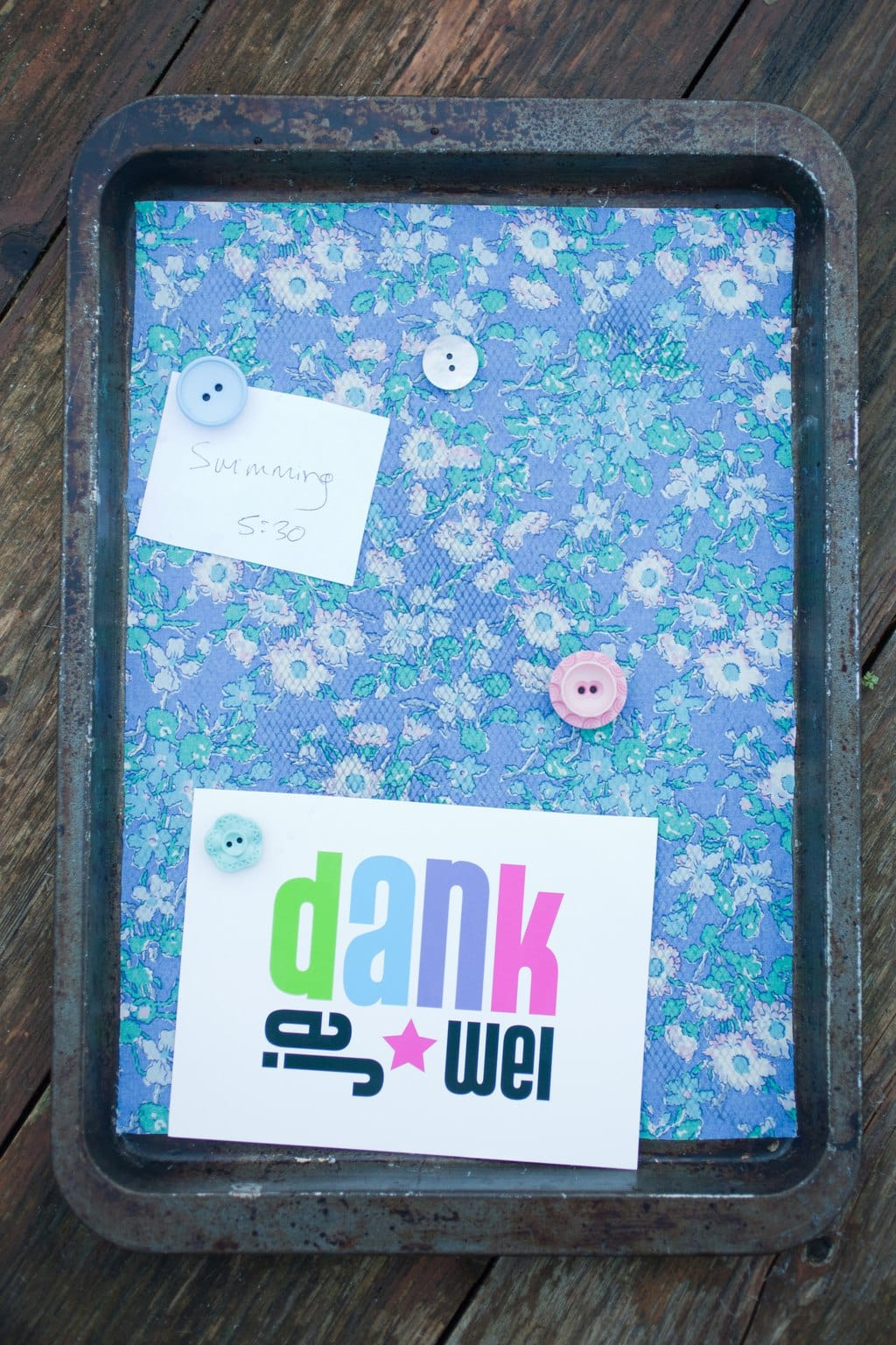 Upcycled Magnetic Baking Tray Notice Board