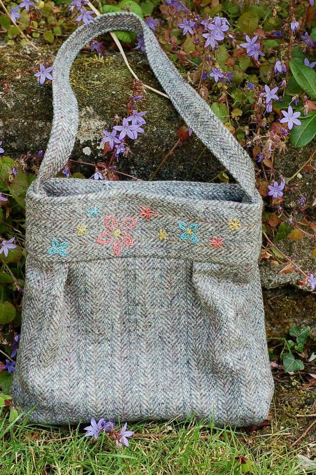 Embroidered Tweed Bag