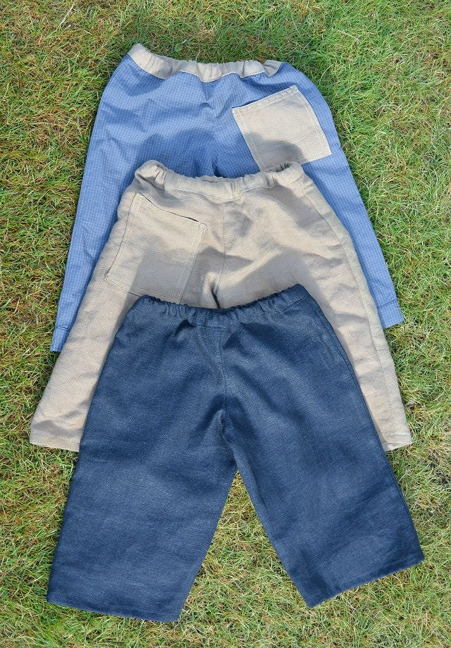 3 upcycled three quarter length trousers