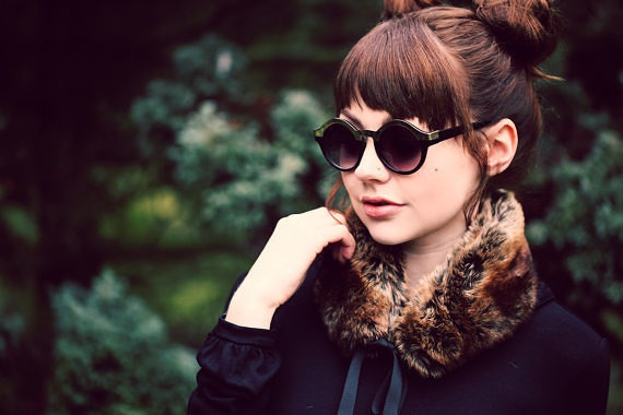 Faux Fur collar in golden brown