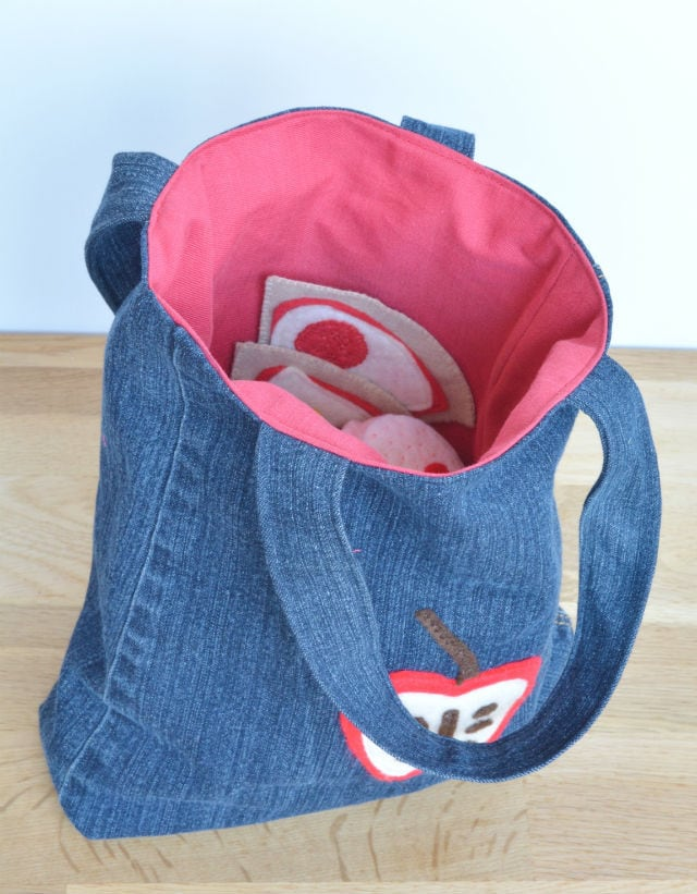 Denim food bag