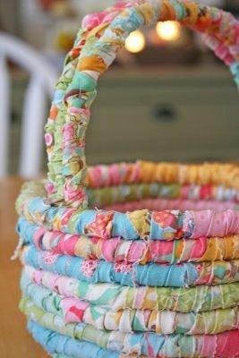 Fabric scrap easter basket