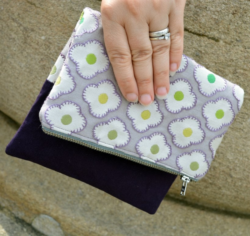 Evening Clutch, hand embroidered curtain fabric