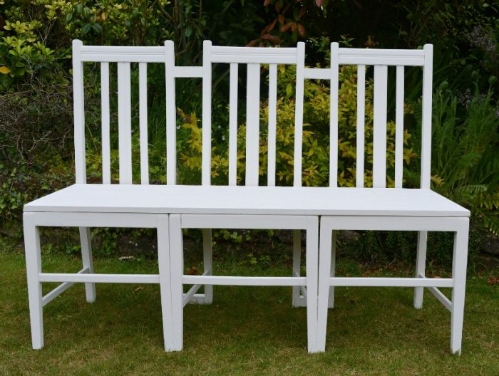 Upcycled Furniture - Garden Bench Seat from former dinisng room chairs, DIY