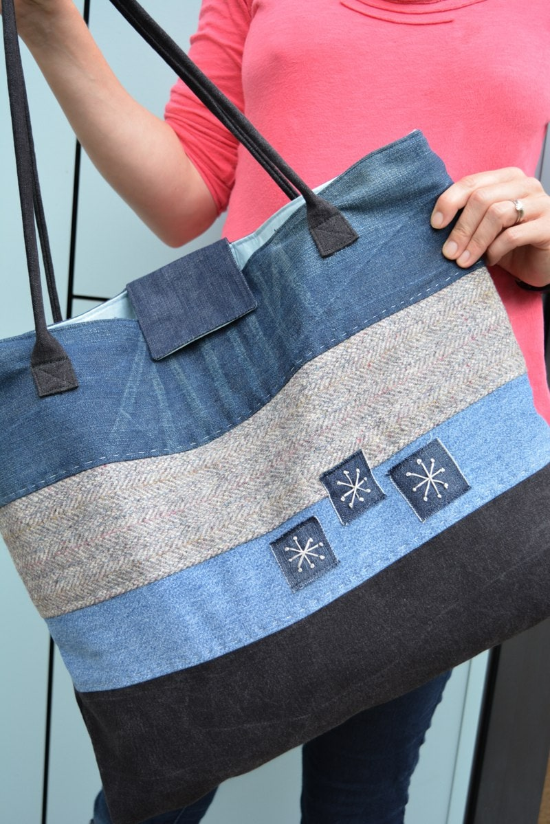 How to make a large denim tote bag - vicky myers creations