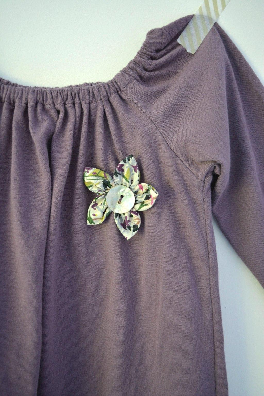 T shirt dress, with flower button detail