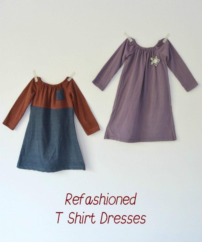 Refashioned t-shirt dresses