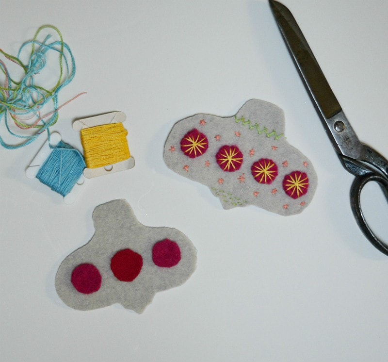 Upcycled sweater felt baubles