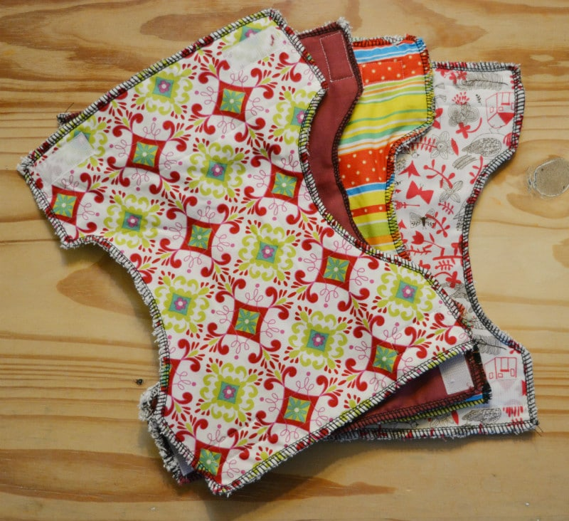 Create dolls nappies from fabric scraps and an old towel