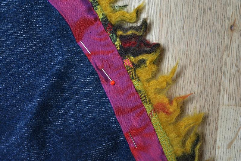 Denim skirt, highlighted with trim