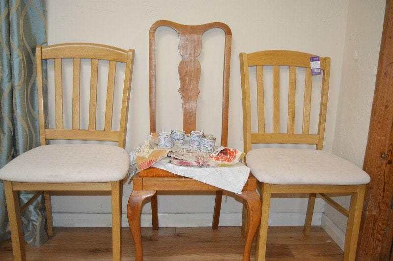 Chrity shop chair readyt o be transformed into shabby chic chairs, chalk paint and curtin fabric samples at the ready!