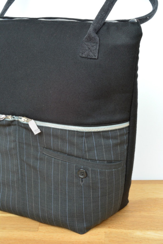Recycle trouser bag - upcycled some trousers into a stylish work bag