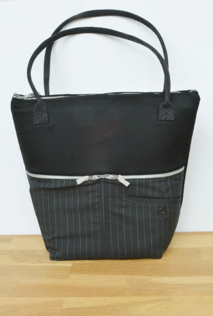 Recycled suit trousers into stylish work bag