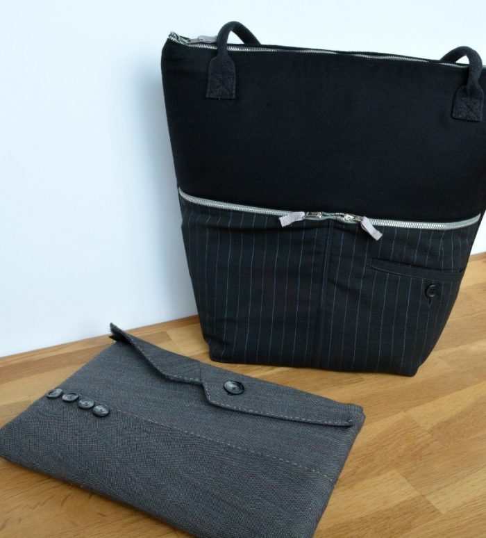 Upcycled suit into work bag and tablet case