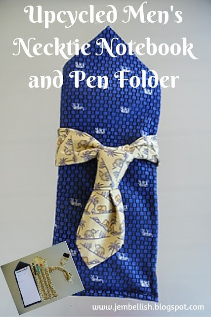 Upcycled Men's Necktie Notebook ad Pen Folder