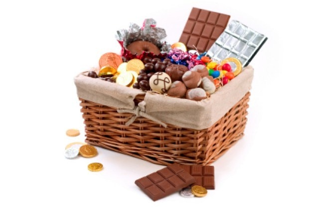 Diet be damned, you'll gain 10 pounds just looking at this little hamper style basket overflowing with sweet chocolatey treats!