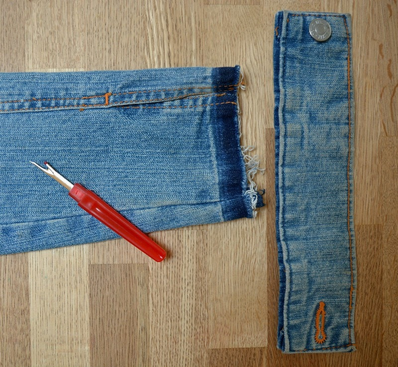 remove cuff of denim jacket