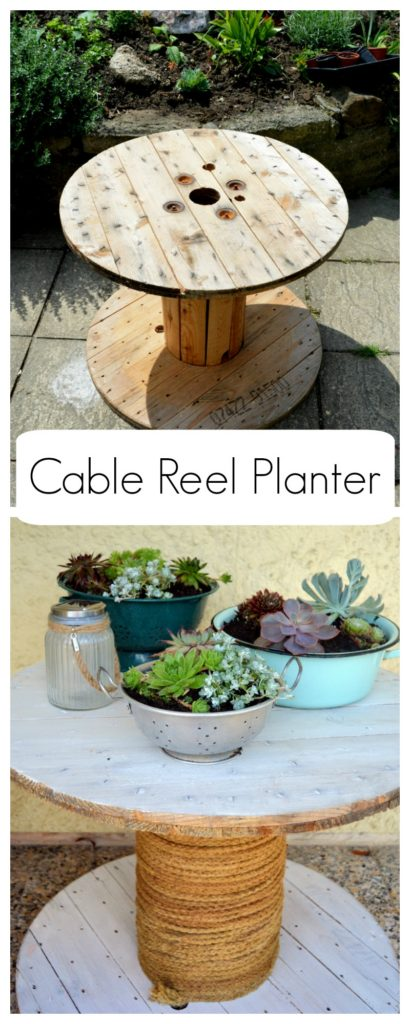 Cable Reel Planter - whitewash cable spool, quick and easy DIY More info on blog
