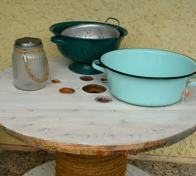 Vintage kitchen ware as plant containers