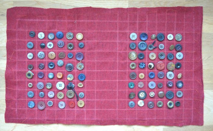 Choose buttons for the upcycled button bag