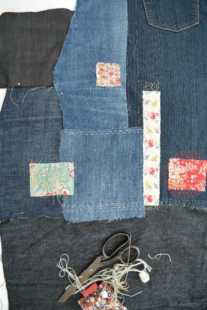 Handstitch pieces together, sashiko bag