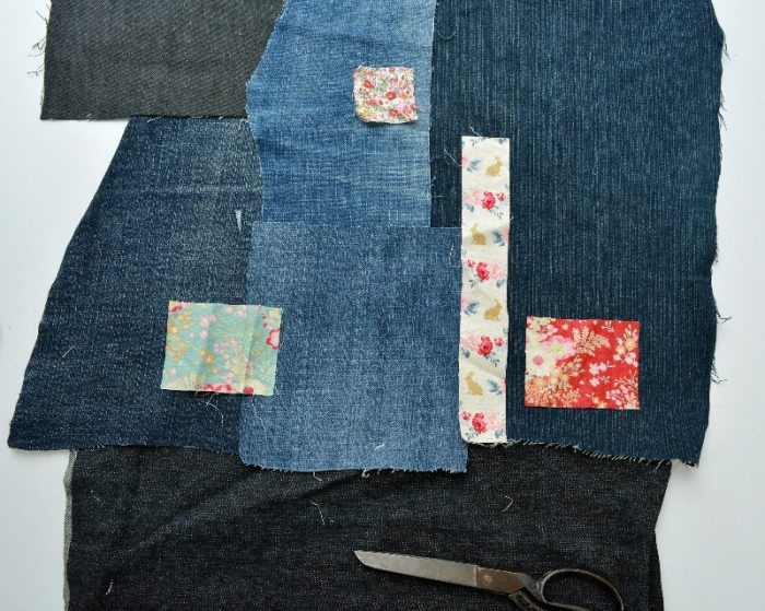 Lay out denim in patchwork design