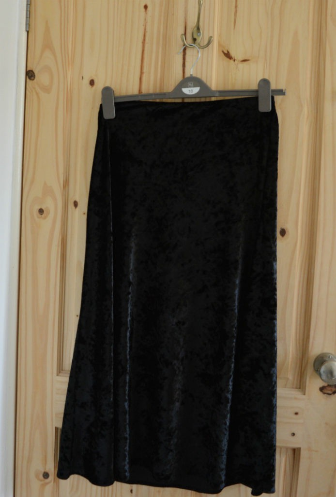 black velvet skirt refashion