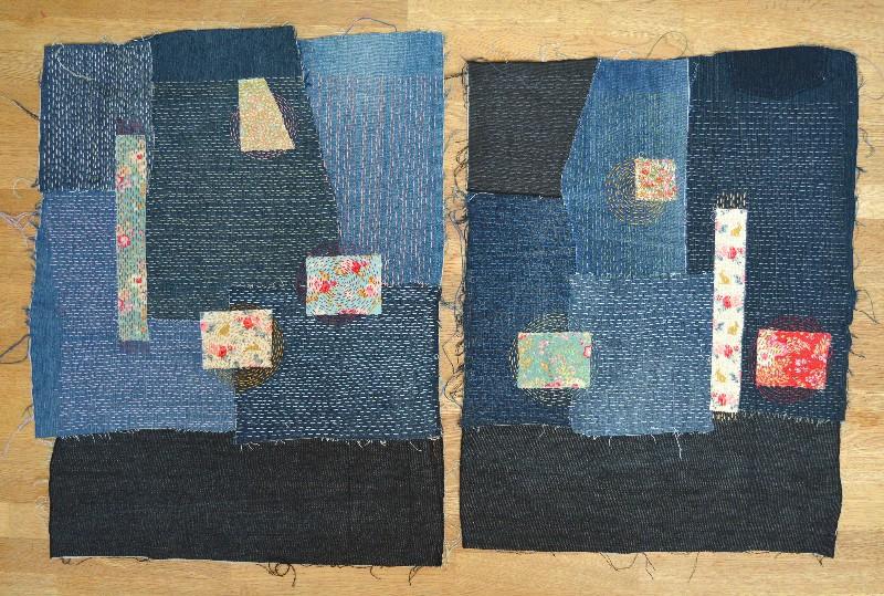 Sashiko Denim Bag - two sides hand stitched ready to create bag