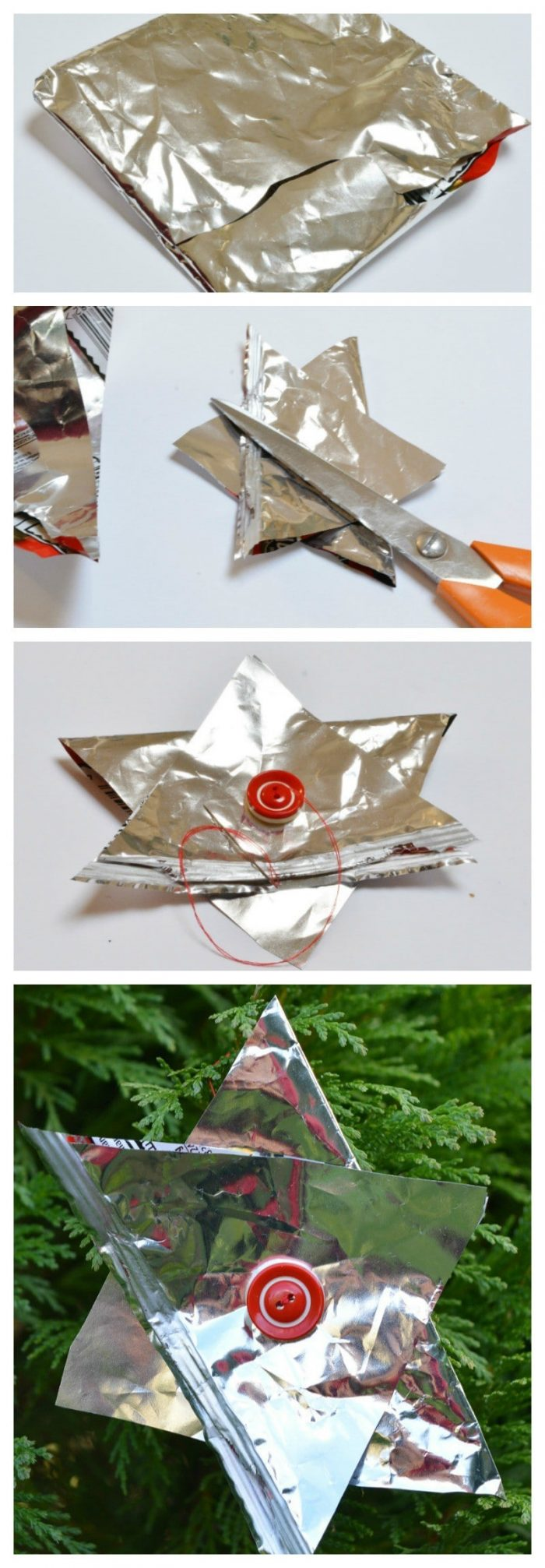 DIY Christmas decorations with crisp packets