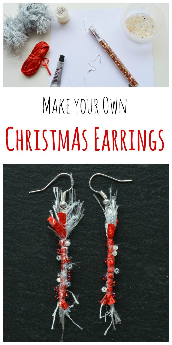 Transform your ribbons into Christmas earrings