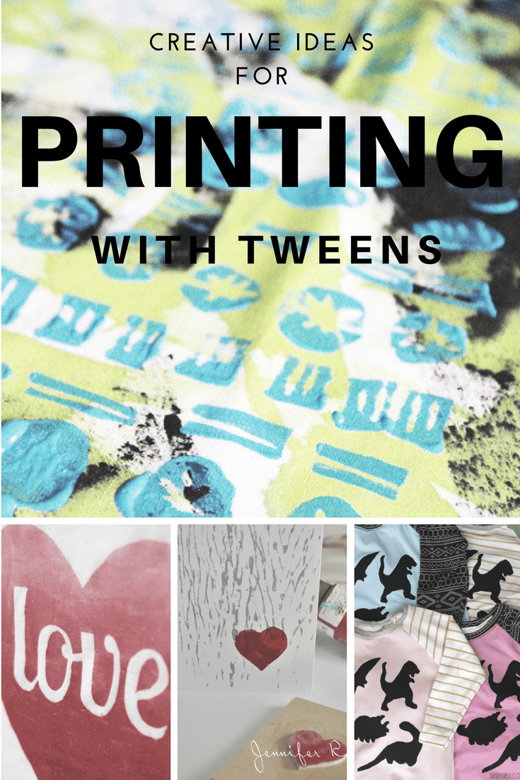 Creative ideas for experimenting with printing. Perfect for being creative with your tween this summer holiday.