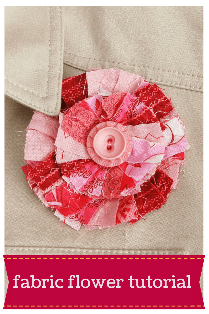 Fabric flower tutorial, use old fabric scraps and a washer to create a brooch