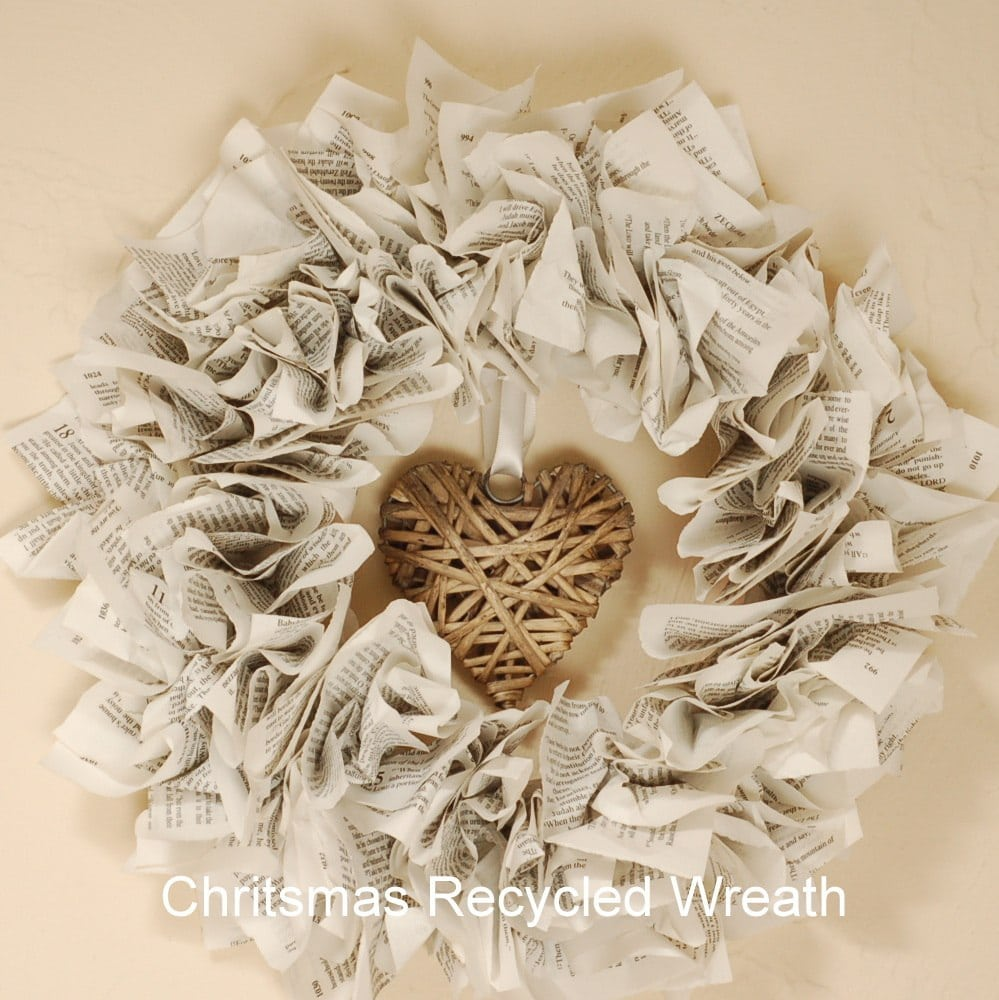 Paper Christmas Wreath Ideas.Recycled Paper Christmas Wreath