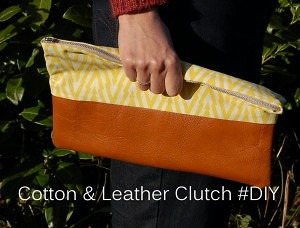 Cotton & Leather Clutch #DIY