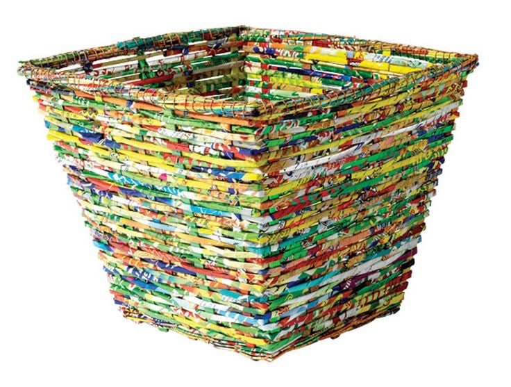 waste bin made from recycled crisp bags