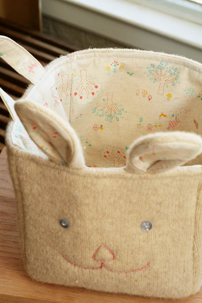 Recycled sweater basket