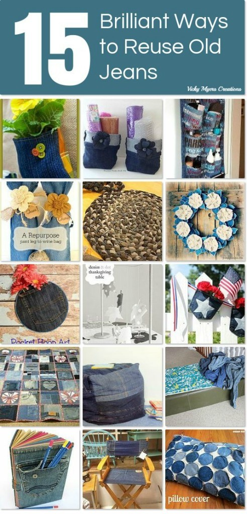 reuse old jeans, great round up of projects from Hometalk