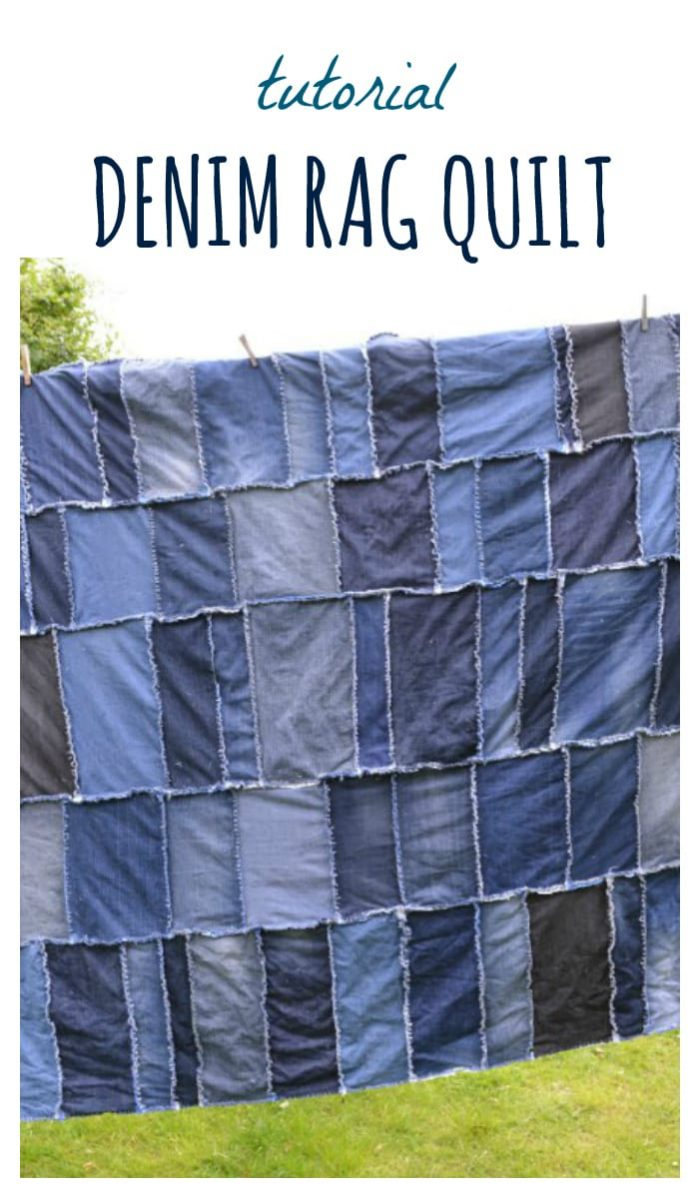 Denim Rag Quilt, DIY, tutorial for transforming old jeans into a quilt