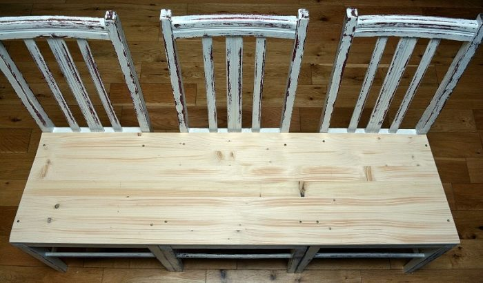 Seat area of bench