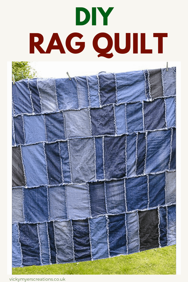 Do you have a big pile of old jeans? Looking for ideas and tutorials to upcycle them? learn how to make a denim rag quilt with great instructions. #ragquilt