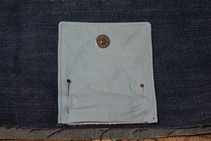 baste fabric flap closure