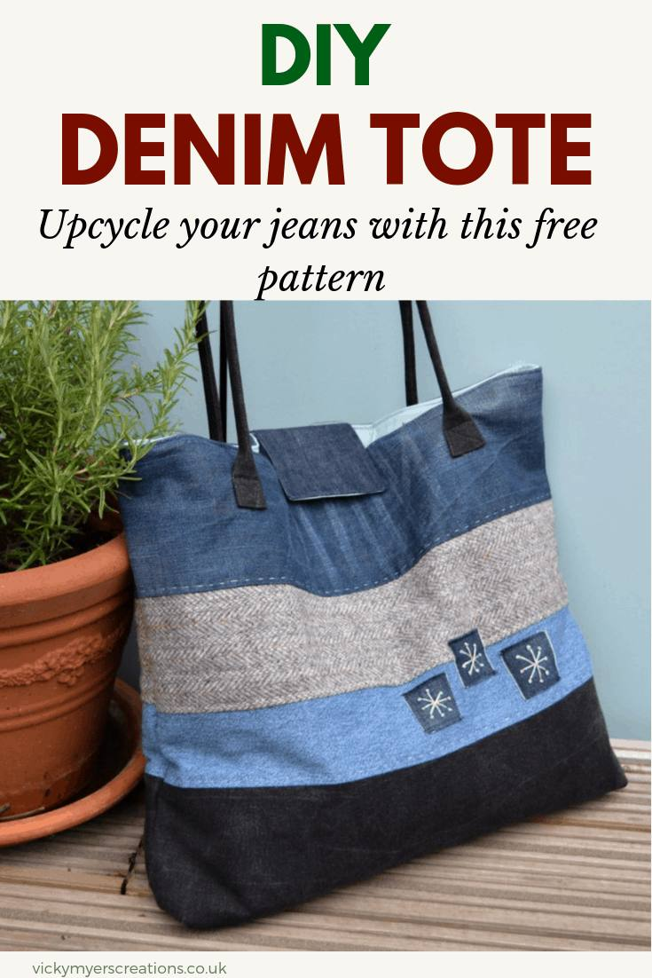 Sew up your own denim bag with this free, easy sewing pattern. Tutorial for a large denim tote, featuring padded handles, magnetic closure and internal zip pockets, upcycle your jeans #freebagpattern #totebagpattern