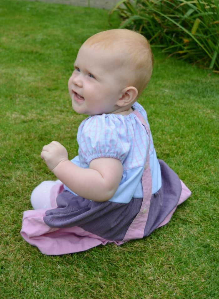 Toddler dress made from refashioned shirts