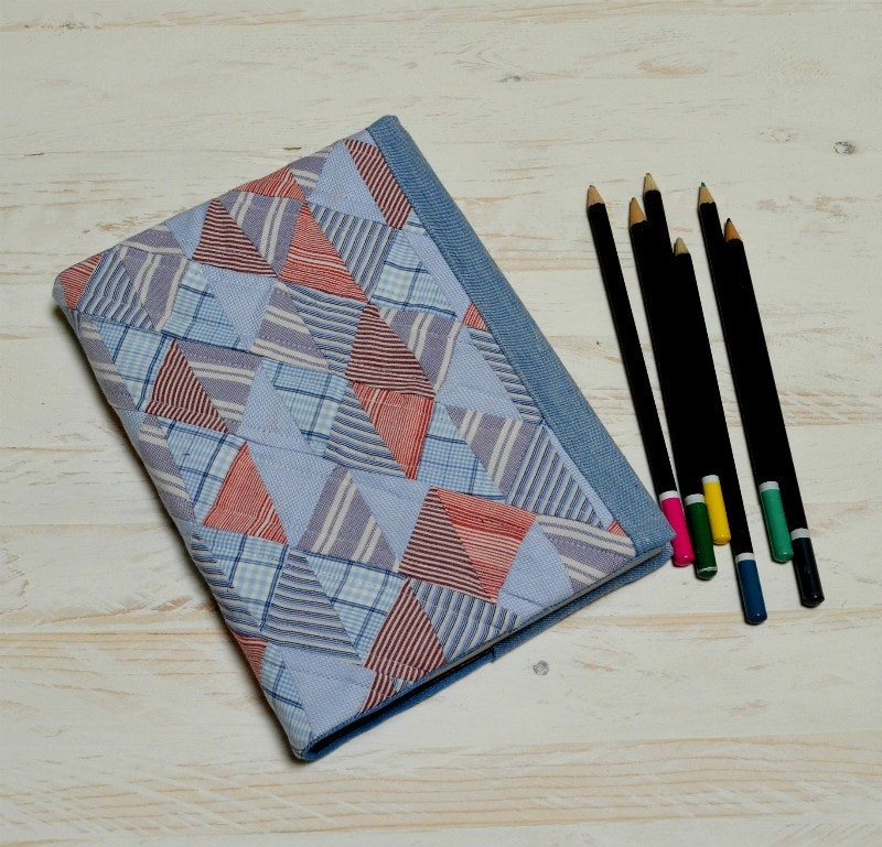 Quilted Sketch book cover - made from former shirts