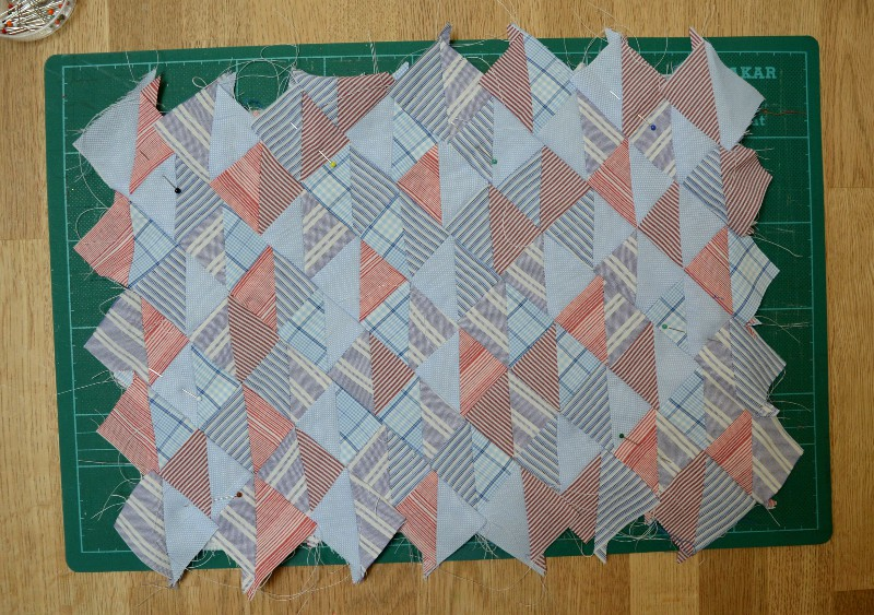 Quilted triangles for sketchbook cover