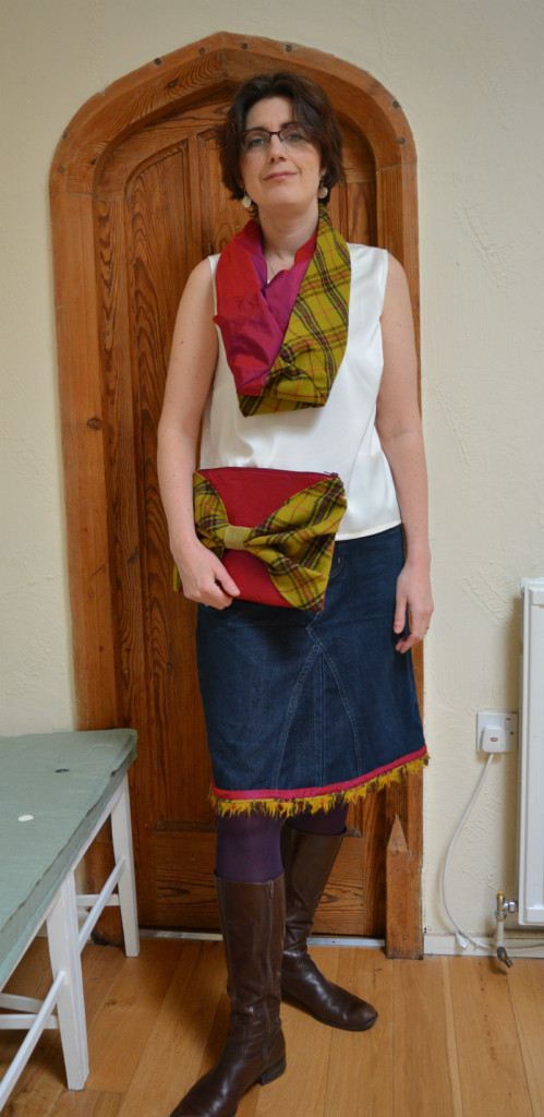 Refashioned outfit, silk and wool cowl, clutch and skirt Norwich Fashion Jam