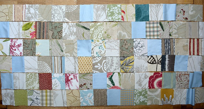 Use curtain samples to create fun patchwork for reupholstery, great use of fabric scraps