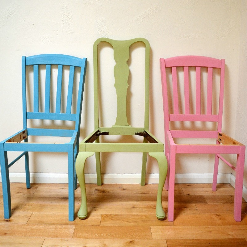Mismatched shabby chic dining room chairs, transform chairs with chalk paint