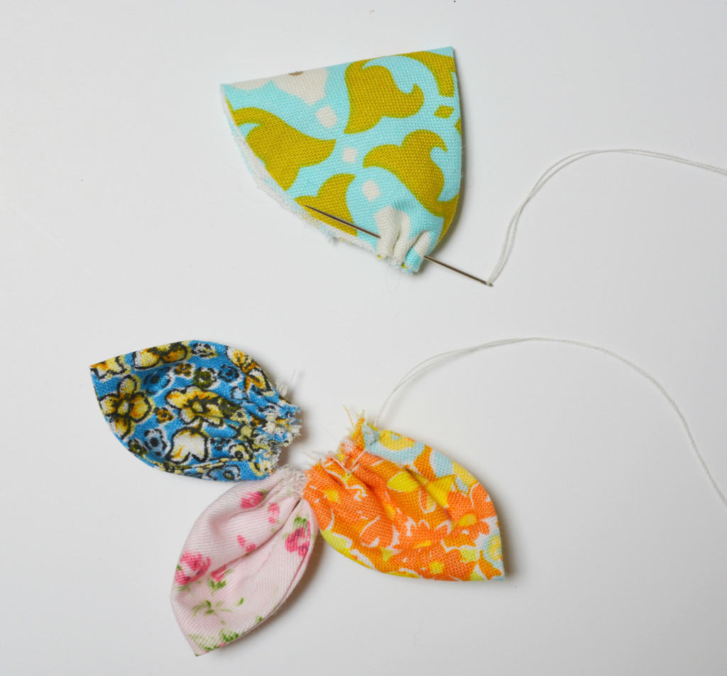 gather your fabric flower petals together